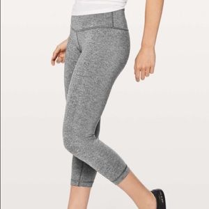 LULULEMON Wunder Under Crop III Heathered Black